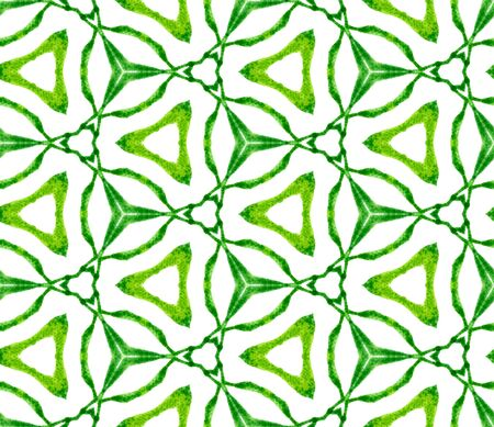 Green medallion seamless pattern. Hand drawn watercolor ornament. Precious repeating tile. Fair fabric cloth, swimwear design, wallpaper, wrapping.
