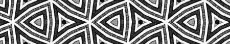 Dunkle schwarze und weiße nahtlose Border Scroll. Geometrischer Aquarellrahmen. Verführerisches nahtloses Muster. Medaillon wiederholte Fliese. Wertvolle Chevron-Band-Verzierung.