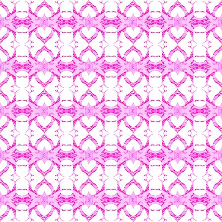 Pink geometric seamless pattern. Hand drawn watercolor ornament. Brilliant repeating design. Stunning fabric cloth, swimwear design, wallpaper wrapping.