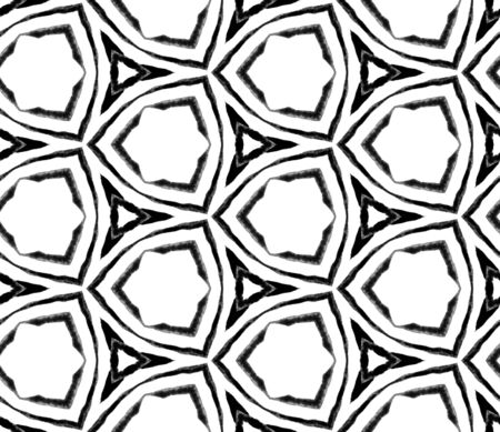 Black and white summer seamless pattern. Hand drawn watercolor ornament. Mesmeric repeating tile. Marvelous fabric cloth, swimwear design, wallpaper, wrapping.
