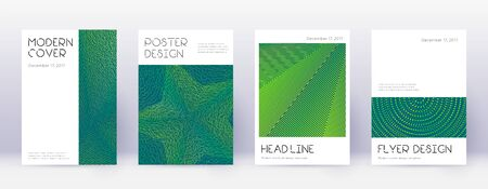 Minimal brochure design template set. Green abstract lines on dark background. Appealing brochure design. Incredible catalog, poster, book template etc.