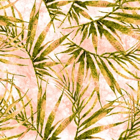 Tropical seamless pattern. Watercolor chaotic palm leaves, japanese bamboo. Green exotic swimwear design. Summer tropic repeated print. Ravishing textile illustration.