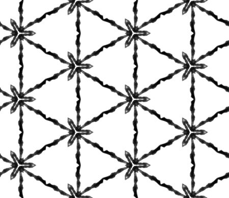 Black and white geometric foliage seamless pattern. Hand drawn watercolor ornament. Quaint repeating tile. Ecstatic fabric cloth, swimwear design, wallpaper, wrapping.