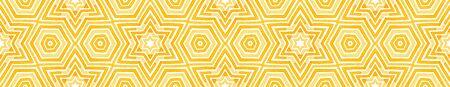 Orange Seamless Border Scroll. Geometric Watercolor Frame. Amazing Seamless Pattern. Medallion Repeated Tile. Perfect Chevron Ribbon Ornament.