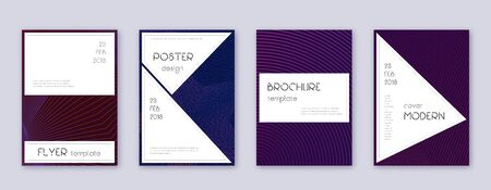 Stylish brochure design template set. Violet abstract lines on dark background. Bewitching brochure design. Flawless catalog, poster, book template etc.