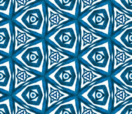 Blue triangular seamless pattern. Hand drawn watercolor ornament. Majestic repeating tile. Exotic fabric cloth, swimwear design, wallpaper, wrapping. 스톡 콘텐츠
