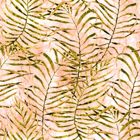 Tropical seamless pattern. Watercolor tangled palm leaves, japanese bamboo. Yellow exotic swimwear design. Summer tropic repeated print. Actual textile illustration.