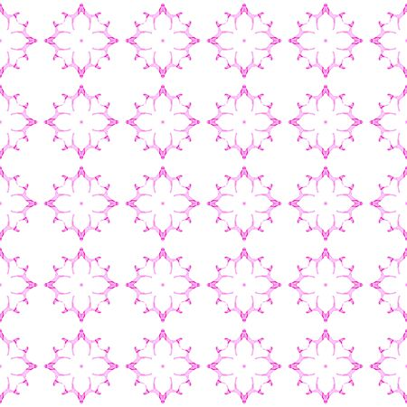 Pink geometric seamless pattern. Hand drawn watercolor ornament. Appealing repeating design. Incredible fabric cloth, swimwear design, wallpaper wrapping. Imagens