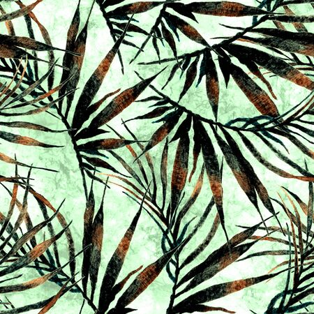 Tropical seamless pattern. Watercolor chaotic palm leaves, japanese bamboo. Green exotic swimwear design. Summer tropic repeated print. Remarkable textile illustration. Stock Photo