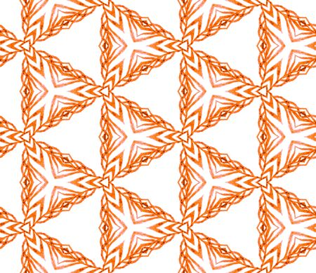Orange triangular seamless pattern. Hand drawn watercolor ornament. Majestic repeating tile. Original fabric cloth, swimwear design, wallpaper, wrapping.