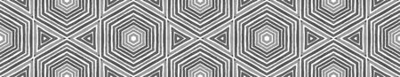 Black and white Seamless Border Scroll. Geometric Watercolor Frame. Actual Seamless Pattern. Medallion Repeated Tile. Fine Chevron Ribbon Ornament. Stock fotó