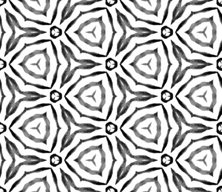 Black and white geometric foliage seamless pattern. Hand drawn watercolor ornament. Quaint repeating tile. Admirable fabric cloth, swimwear design, wallpaper, wrapping.