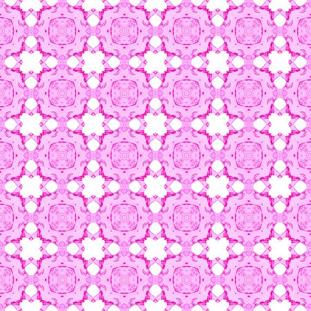 Pink geometric seamless pattern. Hand drawn watercolor ornament. Authentic repeating design. Resplendent fabric cloth, swimwear design, wallpaper wrapping.