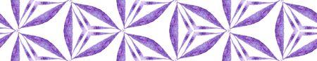 Purple kaleidoscope Seamless Border Scroll. Geometric Watercolor Frame. Breathtaking Seamless Pattern. Medallion Repeated Tile. Stylish Chevron Ribbon Ornament.
