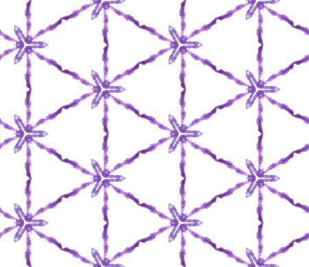 Purple geometric foliage seamless pattern. Hand drawn watercolor ornament. Rare repeating tile. Enchanting fabric cloth, swimwear design, wallpaper, wrapping. 스톡 콘텐츠