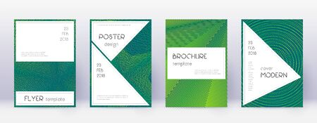 Stylish brochure design template set. Green abstract lines on dark background. Beautiful brochure design. Exotic catalog, poster, book template etc.