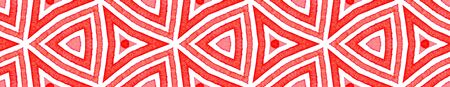 Pink red Seamless Border Scroll. Geometric Watercolor Frame. Amusing Seamless Pattern. Medallion Repeated Tile. Resplendent Chevron Ribbon Ornament.