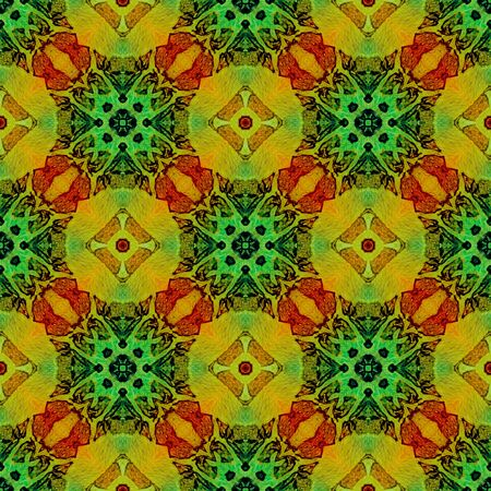 Orange green medallion allover seamless pattern. Hand drawn watercolor ornament. Bizarre repeating design. Emotional fabric cloth, swimwear design, wallpaper wrapping.