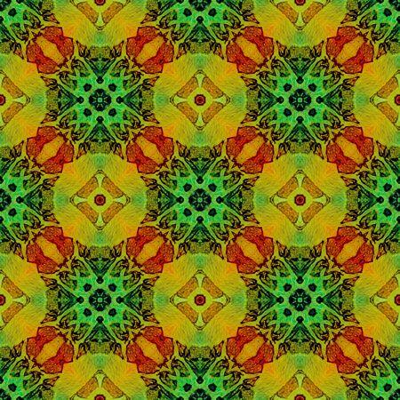 Orange green medallion allover seamless pattern. Hand drawn watercolor ornament. Bizarre repeating design. Emotional fabric cloth, swimwear design, wallpaper wrapping.