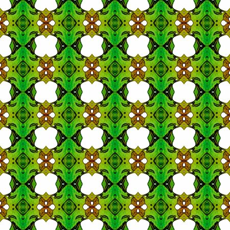 Orange green geometric seamless pattern. Hand drawn watercolor ornament. Brilliant repeating design. Dramatic fabric cloth, swimwear design, wallpaper wrapping.