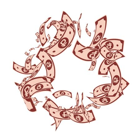 Russian ruble notes falling. Messy RUB bills on white background. Russia money. Bizarre vector illustration. Cute jackpot, wealth or success concept.