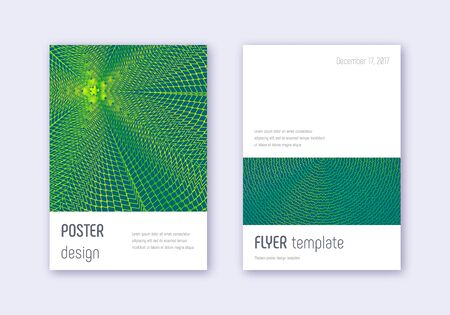 Minimalistic cover design template set. Green abstract lines on dark background. Ecstatic cover design. Majestic catalog, poster, book template etc.