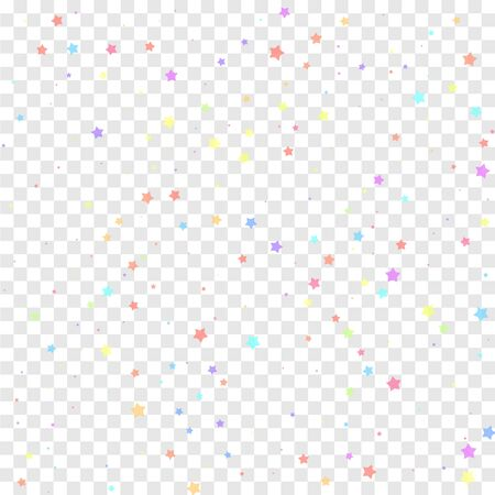 Festive confetti. Celebration stars. Colorful stars random on transparent background. Classic festive overlay template. Attractive vector illustration.