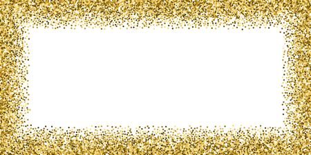 Round gold glitter luxury sparkling confetti. Scattered small gold particles on white background. Bold festive overlay template. Energetic vector illustration.