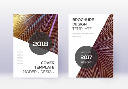 Modern cover design template set. Gold abstract lines on maroon background. Extra cover design. Original catalog, poster, book template etc.