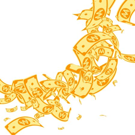 Korean won notes falling. Messy WON bills on white background. Korea money. Cute vector illustration. Shapely jackpot, wealth or success concept. Illusztráció