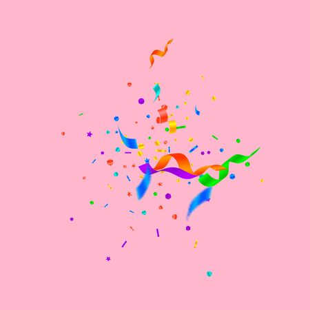 Streamers and confetti. Festive tinsel and foil ribbons. Confetti explosion on pink background. Authentic paty overlay template. Pleasant celebration concept.