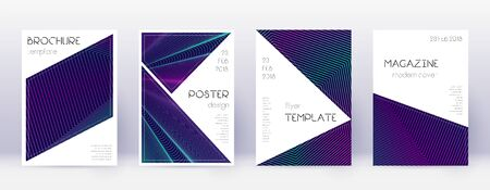 Triangle brochure design template set. Neon abstract lines on dark blue background. Breathtaking brochure design. Beauteous catalog, poster, book template etc.  イラスト・ベクター素材