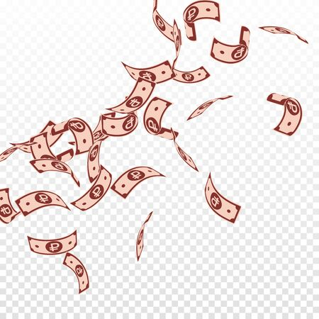 Russian ruble notes falling. Floating RUB bills on transparent background. Russia money. Bewitching vector illustration. Sightly jackpot, wealth or success concept. Vettoriali