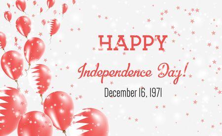 Carte de voeux de fête de l'indépendance de Bahreïn. Ballons volants aux couleurs nationales de Bahreïn. Joyeux Jour De L'Indépendance Bahreïn Illustration Vectorielle.