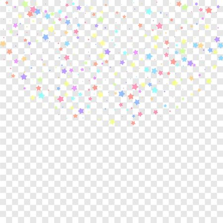 Festive confetti. Celebration stars. Colorful stars random on transparent background. Comely festive overlay template. Exotic vector illustration. Ilustração