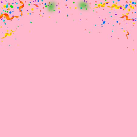 Streamers and confetti. Colorful tinsel and foil ribbons. Confetti gradient on pink background. Beauteous paty overlay template. Positive celebration concept.