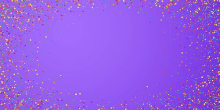 Festive confetti. Celebration stars. Joyous confetti on bright purple background. Elegant festive overlay template. Wonderful vector illustration.