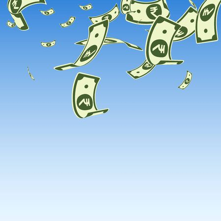 Indian rupee notes falling. Random INR bills on blue sky background. India money. Charming vector illustration. Appealing jackpot, wealth or success concept.