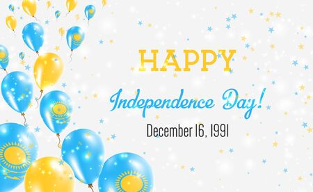 Kazakhstan Independence Day Greeting Card. Flying Balloons in Kazakhstan National Colors. Happy Independence Day Kazakhstan Vector Illustration.