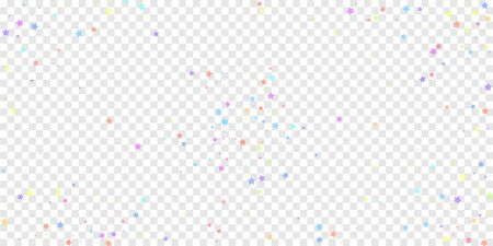 Festive confetti. Celebration stars. Colorful stars random on transparent background. Creative festive overlay template. Trending vector illustration.