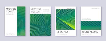 Minimal brochure design template set. Green abstract lines on dark background. Appealing brochure design. Ideal catalog, poster, book template etc. Çizim