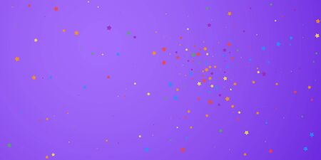 Festive confetti. Celebration stars. Joyous stars on bright purple background. Curious festive overlay template. Wonderful vector illustration.