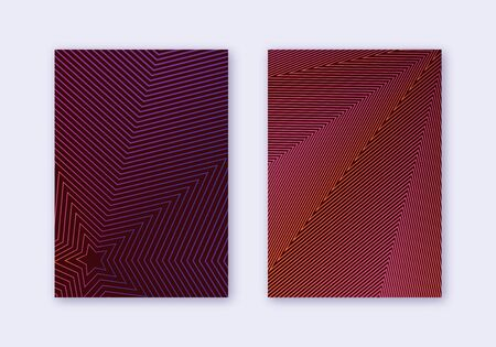 Cover design template set. Abstract lines modern brochure layout. Violet vibrant halftone gradients on dark background. Tempting brochure, catalog, poster, book etc.