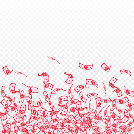 British pound notes falling. Small GBP bills on transparent background. United Kingdom money. Authentic vector illustration. Precious jackpot, wealth or success concept.