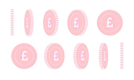 British pound rotating coins set, animation ready. Pink GBP copper coins rotation. United Kingdom metal money. Eminent cartoon vector illustration.