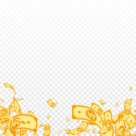 Korean won notes falling. Messy WON bills on transparent background. Korea money. Cute vector illustration. Dramatic jackpot, wealth or success concept.