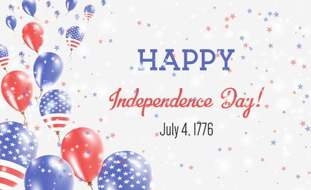 United States Independence Day Greeting Card. Flying Balloons in United States National Colors. Happy Independence Day United States Vector Illustration.