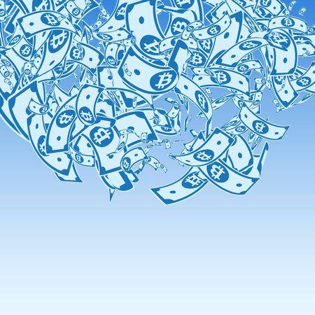 Bitcoin, internet currency notes falling. Messy BTC bills on blue sky background. Cryptocurrency, digital money. Alive vector illustration. Pretty jackpot, wealth or success concept. Illusztráció