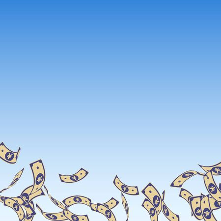Chinese yuan notes falling. Floating CNY bills on blue sky background. China money. Divine vector illustration. Appealing jackpot, wealth or success concept. Illusztráció