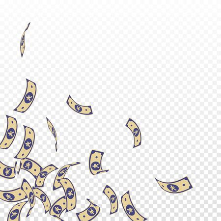 Chinese yuan notes falling. Floating CNY bills on transparent background. China money. Ecstatic vector illustration. Sublime jackpot, wealth or success concept. Çizim